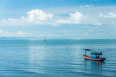 Small boat with beauty blue sky Royalty Free Stock Image