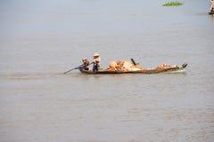 Small boat carries bricks Royalty Free Stock Image