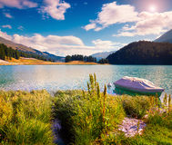 Small boat on the Champferersee lake Stock Image