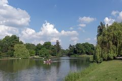 Daumesnil lake in Paris city royalty free stock photo