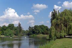 Daumesnil lake in Paris city stock image