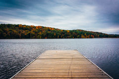 Small boat dock on the shore of Lake Williams, near York, Pennsy Stock Photos