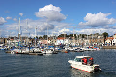 Small boat entering Anstruther harbour, Fife Royalty Free Stock Photography