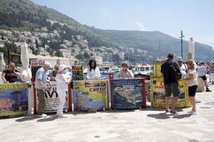 Small boat excursion sellers on the harbour in Dubrovnik Croatia Stock Photo