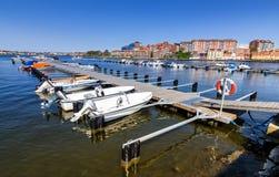 Small boat harbor in Karlskrona city Stock Image