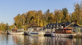 Small boat harbor Stock Photos