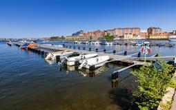 Small boat harbor in spring season Royalty Free Stock Photo