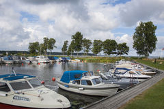Small boat harbor royalty free stock photography