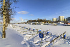 Small boat harbor. Wintry small boat harbor in western Finland stock photos