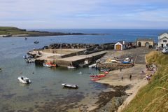 Small boat harbour in Northern Ireland stock photography