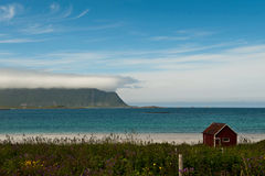 Small boat house in Lofoten Stock Image