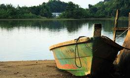 Small Boat Lake Shore Stock Photo