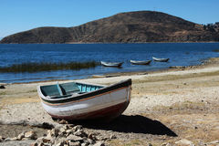 Small boat on lake titicaca Royalty Free Stock Photography
