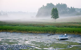 Small boat at low tide. A view across a seacoast inlet at low tide to a grounded boat and low-lying fog in early morning in Maine Stock Image