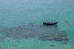 Lonely Fisherman in the sea, Vietnam royalty free stock image
