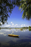 Hoi-an lakes,vietnam 2. A small boat moored on The lakes and inland waterways of hoi-an in vietnam Stock Image