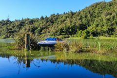 A small boat nestled in water plants, Lake Rotoehu, New Zealand stock images