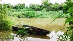 Small boat in Pasak River Stock Photo