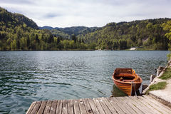 Small boat. Rental boat on a Bled lake in Slovenia Royalty Free Stock Image