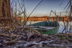 Small boat on the river Royalty Free Stock Photo