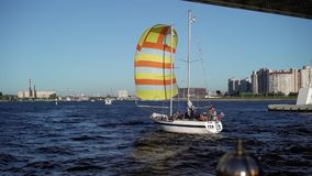 Small boat sailing. At the city stock video footage