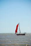 Small boat at sea. Small boat floating on the sea Stock Photography