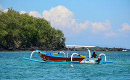 A small boat on the sea at Gili Air island in Lombok, Indonesia Stock Image