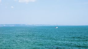 Small boat in the sea with tourist in it. Happy vacation and holidays stock video