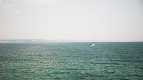 Small boat in the sea with tourist in it. Happy vacation and holidays stock footage