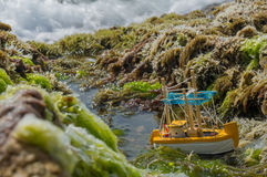Small Boat. In the sea water royalty free stock photos