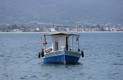 Small boat. Stavros, Greece Small boat floating Royalty Free Stock Images