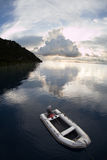 Small Boat and Tropical Scenery in Raja Ampat royalty free stock photo