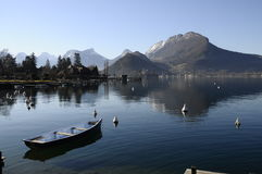 Small boat and view of lake annecy Stock Photo