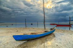 Small boat. Water village, Patau-patau No. 2 Labuan Malaysia. Bad shoe with beautiful sunrise Stock Photography
