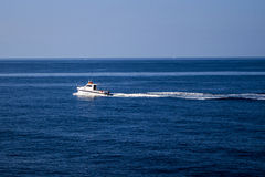 Small boat on the way to Cirkewwa Malta. On a calm day Stock Image