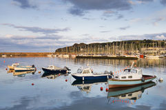 Small boats. In port with yachts in background royalty free stock photo