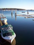 Small boats. Under the snow royalty free stock image