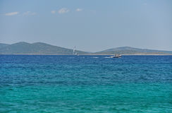 The small boats against the blue of the Adriatic sea Stock Photo