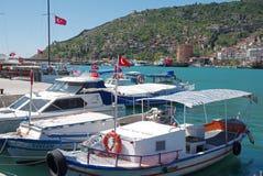Small boats in Alanya bay Royalty Free Stock Images