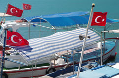 Small boats in Alanya bay Stock Photo