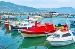 The small boats in Alanya port Royalty Free Stock Images