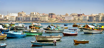 Small Boats Anchored In Alexandria, Egypt Stock Photos