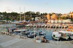 Small boats in a Antalya harbor, Turkey stock image