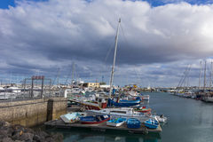 Small boats Corralejo harbor harbour Royalty Free Stock Image
