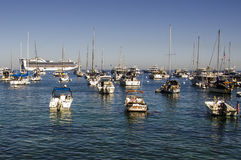 SMALL BOATS AND CRUISE SHIP CATALINA ISLAND Stock Photo