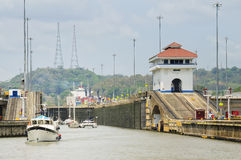 Small Boats Departing Panama Canal Lock Royalty Free Stock Images