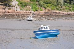 Small boats at ebb tide Royalty Free Stock Photos