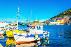 Small boats in Greek port on Island, Greece Stock Photography