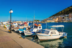 Small boats in Greek port on Island, Greece Royalty Free Stock Photo