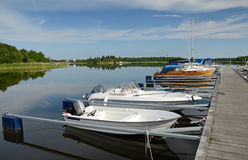 Small boats in the harbor Stock Photography